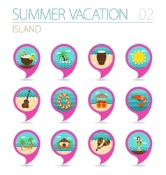 Island beach pin map icon set summer vacation vector