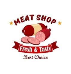 Meat and butcher shop emblem label vector