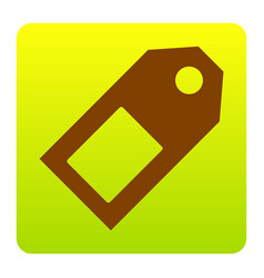 price tag sign brown icon at green-yellow vector image