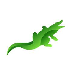 wild crocodile animal jungle pet logo silhouette vector image vector image