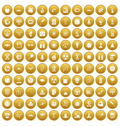 100 space technology icons set gold vector