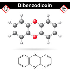 14- dibenzodioxine polycyclic heterocyclic vector image