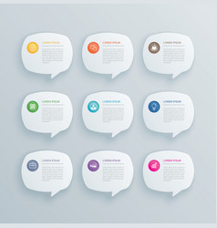 9 infographics with bubble speech template design vector image