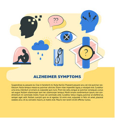 Alzheimer s symptoms banner template in flat style vector