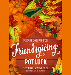 Autumn friendsgiving day potluck dinner vector