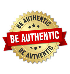 be authentic round isolated gold badge vector image
