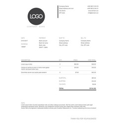 Black and white simple invoice template vector