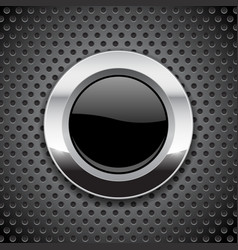 black button on metal perforated background round vector image