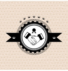 black vintage retro label stylized handshake vector image