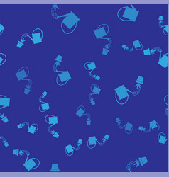 blue watering can sprays water drops above vector image