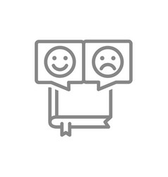 Book with different emotions line icon reader vector