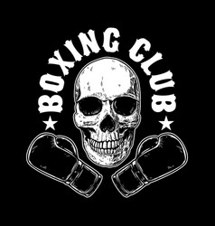 Boxing club emblem template human skull with vector