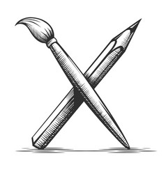 brush and pencil artist tools vector image