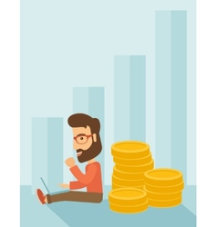 Businessman is sitting with pile of gold coins on vector image