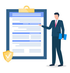 businessman presenting clipboard with contract vector image