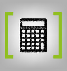 calculator simple sign black scribble vector image
