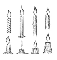 Candle hand drawn set vector image