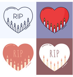 candles inside heart outline icon set the vector image