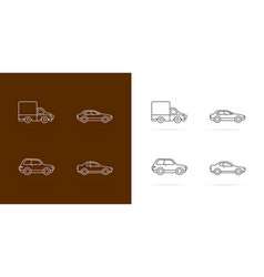 cars icons set white lines style on dark vector image