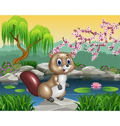 Cartoon beaver posing on the rock vector image