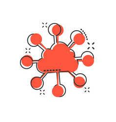 cartoon cloud computing technology icon in comic vector image