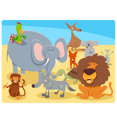 cartoon happy animal characters group vector image