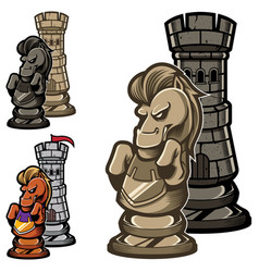 Chess rook and knight vector