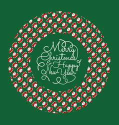 christmas concept in circle with funny santa claus vector image