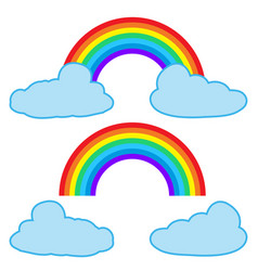 clouds and rainbow isolated on white background vector image