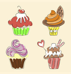 Collection of hand drawn cupcakes vector