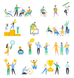 collection scenes at office brainstorming vector image