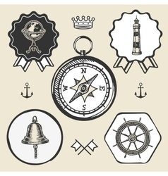 Compass bell lighthouse marine nautical icon sign vector