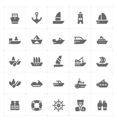 con set - boat and ship filled icon style vector image