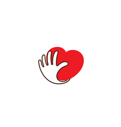 creative heart love hand palm protection safety vector image