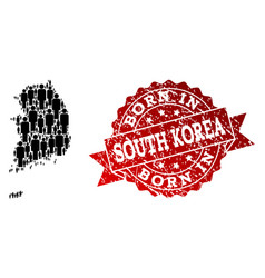 Crowd composition of mosaic map of south korea and vector
