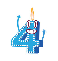 cute birthday candle number character four vector image
