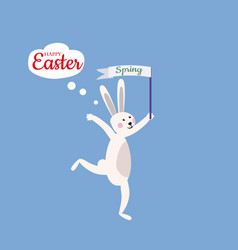 cute easter bunny is happy with easter vector image