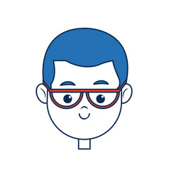 Cute face boy wear glasses with blue hair image vector