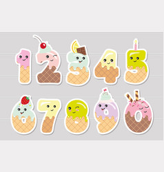 Cute kawaii numbers made sweets funny stickers vector
