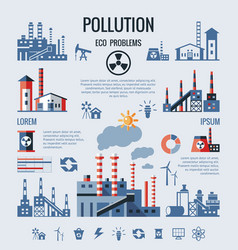 digital blue factory pollution icons vector image