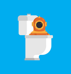 diver from toilet retro underwater diver in wc vector image