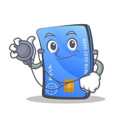 Doctor credit card character cartoon vector