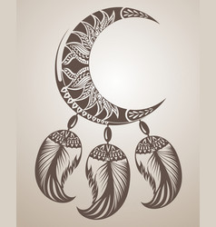 Dream catcher with moon and feathers vector