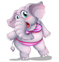 Elephant in bikini on white background vector