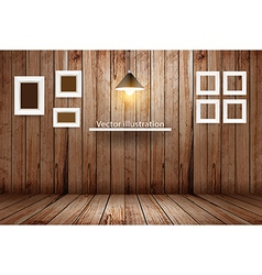 Empty wooden room template design vector