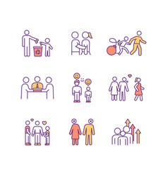 family relationship rgb color icons set vector image