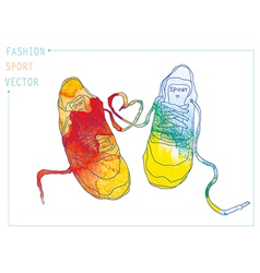 Fashion sneakers watercolor vector