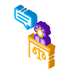 Female witness law and judgement isometric icon vector