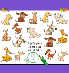 Find two identical dog pictures game for kids vector