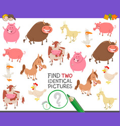 Find two identical farm animals game for children vector